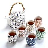 fanquare Blume Porzellan Tee Set mit Teekanne, Vintage Chinesisch Keramik Teeservice mit Rattan Griff