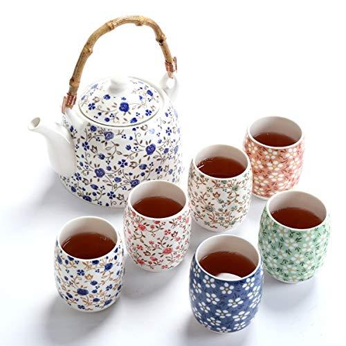 fanquare Juego de Té de Porcelana Floral Vintage, Servicio de Té Chino Kung Fu Hecho a Mano, 1 Tetera y 4 Tazas de Té de Cerámica