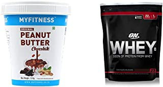 MYFITNESS Chocolate Peanut Butter 510g & Optimum Nutrition (ON) 100% Whey Protein Powder - 1.85 lbs, 837 g (Chocolate Milk...