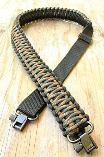 Eslingas para rifle hecha a mano con cuerda de paracaídas 550 y eslabones giratorios, ajustable
