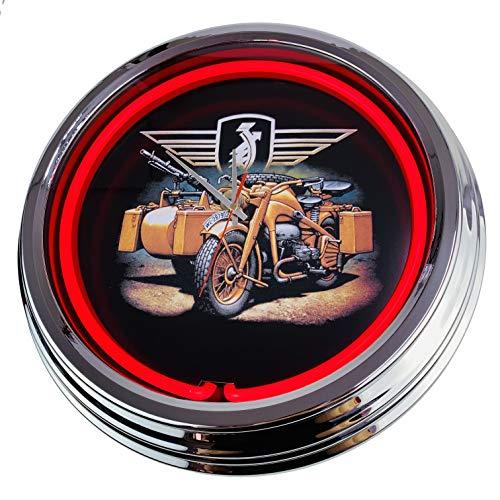 Orologio al neon Red Crown Gasoline Pin Up, orologio da parete decorativo, stile anni '50, stile retrò, per sala da pranzo, cucina, soggiorno, ufficio, rosso, ca.44cm