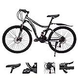 ZSMLB Bici da Strada per Adulti Mountain Bike Mountain Bike in Acciaio al Carbonio 21 velocità MTB 26 Pollici Pneumatico Bicicletta Sospensione Completa Freno a Disco Bici da Esterno per Uomo Donn
