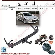 AHK Anh/ängerkupplung mit Elektrosatz 13 polig f/ür Peugeot 407 4D 2004-2008 Anh/ängevorrichtung H/ängevorrichtung mit angeschraubtem Kugelkopf starr