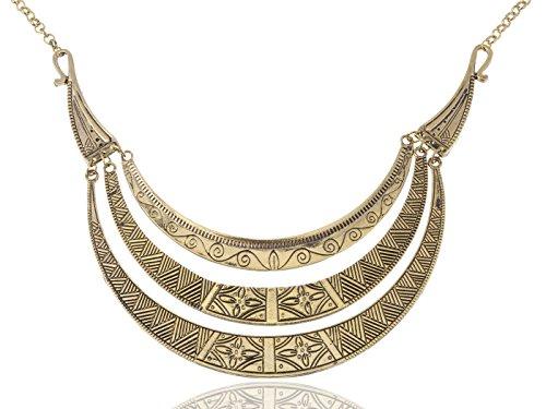 ALILANG Vintage ägyptische Halbmond geformte Lätzchen verstellbare Aussage Halskette