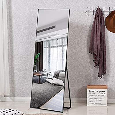 """ElevensMirror Full Length Mirror Dressing Mirror with Standing Holder 65""""x22"""" Large Rectangle Bedroom Floor Mirror Wall-Mounted Mirror Hanging Leaning Against Wall"""