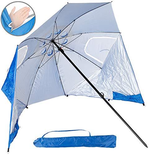 infactory Sonnenschutz: 2in1-Sonnenschirm und Strandmuschel 2 Seitenwände, UV50+, verstellbar (Camping-Sonnenschirm)