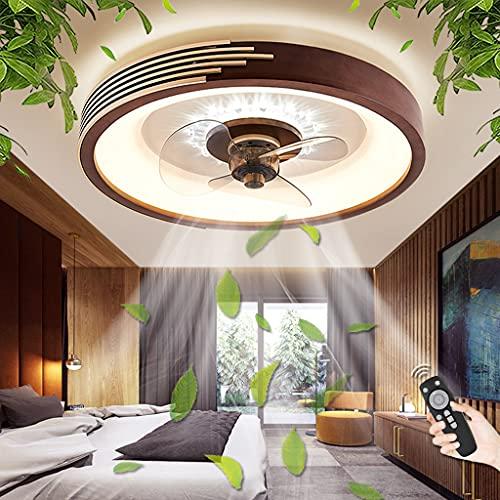 Ventilador De Techo Con Iluminación LED 48W Luz Regulable Con Control Remoto Ventilador Luz De Techo Dormitorio Habitación Infantil Comedor Fan Lámpara De Techo Ventilador De Lámpara Colgante (D)