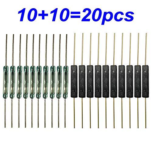 Gebildet 20pcs Reedschalter(10pcs Kunststoff Reedschalter+10pcs Glas Reedschalter) Reedkontakt Schließer(N/O) Magnetischer Induktionsschalter(2.5mm×14mm)&(2mm×14mm)
