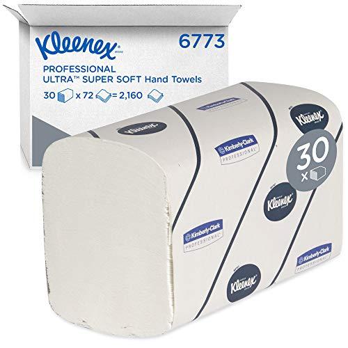 Kleenex Super Softe Falthandtücher, Interfold Papierhandtücher mit Airflex-Absorptionstechnologie, 3-lagig, 30 Packungen x 72 Blatt Papier, Einzelblattentnahme, Weiß, 6773