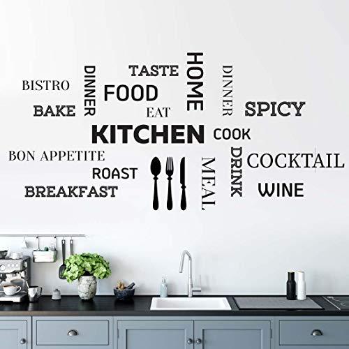 Adesivo da parete per cucina con citazione motivazionale, decorazione da parete, decalcomania in vinile, decorazione per interni, soggiorno, scritta in lingua inglese