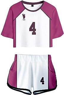 AQBZFHJ Fashion Girls Haikyuu Kozume Kenma Cosplay Costume Volleyball School Uniform T Shirt Tee and Shorts Set