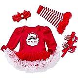 Vestido de Lujo Princesa Niña Recién Nacida- Conjunto de Tutú Vestido de Bebé de Navidad Mono de OnesieRomper Vestido de Tul Vestido Manga Larga 4 Piezas