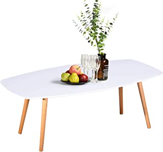 MEUBLE COSY Table basse en bois massif - table basse de salon - 110x50x40cm Blanc table basse design, Blanc /110x50x40cm