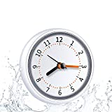 Mini Shower Clock Waterproof IP24 Wall Clock Suction Cup Bathroom Clock Acrylic Face Suction Clock for Shower Washroom Kitchen LXSZRPH (1pack)