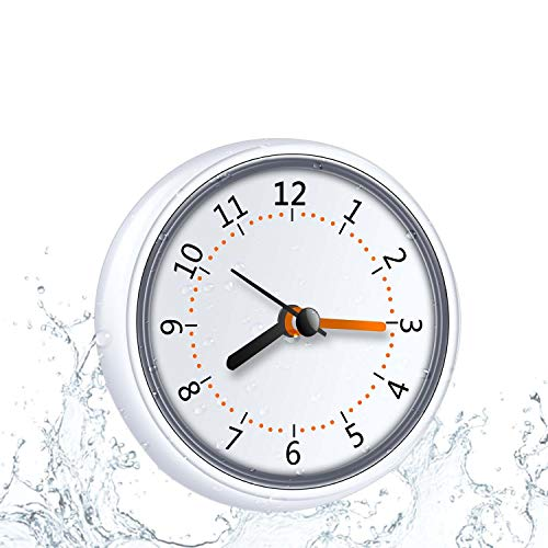 Mini Shower Clock Waterproof IP24 Wall Clock Suction Cup Bathroom Clock Acrylic Face Suction Clock for Shower Washroom Kitchen LXSZRPH (1pc)
