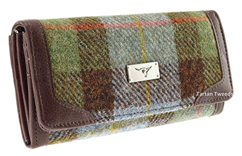 Damen Lang Geldbörse Harris Tweed lb2000 Green Tartan COL15
