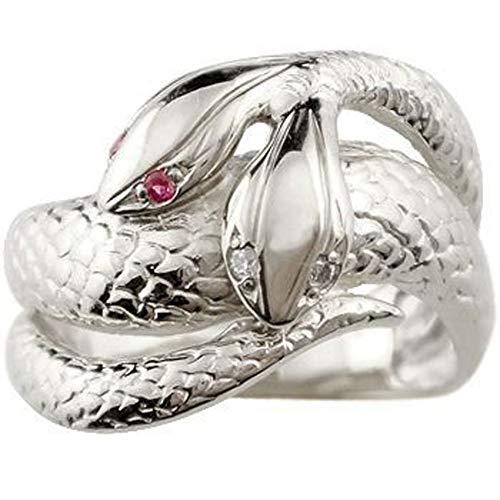 [アトラス]Atrus リング レディース sv925 スターリングシルバー ダイヤモンド ルビー 双頭のへび 宝石 指輪 ピンキーリング 11号