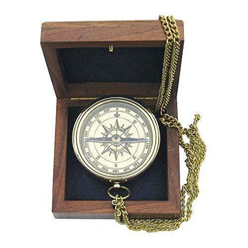 linoows Taschenkompass, Magnet-Kompass mit Ankergravur und Kette in Holzbox, Messing