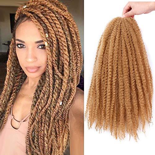 3 Packs Afro Kinky Marley Braiding Hair Synthetic Twist Curly Hair Marley Braids Twist Crochet Braiding Hair Marly Hair Crochet Extensions for Women (18Inch, 27#)
