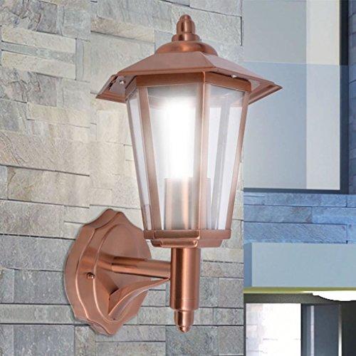 Zora Walter Exterior industriales lámpara de Techo lámpara de Pared Acero Inoxidable Cobre CFL lámpara con difusor de Cristal Clara, 11W