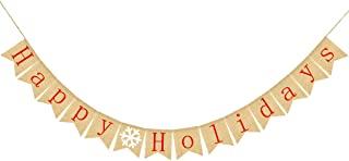 Alasida Happy Holidays Banners for Fireplace Wall Tree, Jute Burlap Bunting Flag Home Décor Door Banner Hanging Halloween Thanksgiving Christmas New Year Decorations Sign