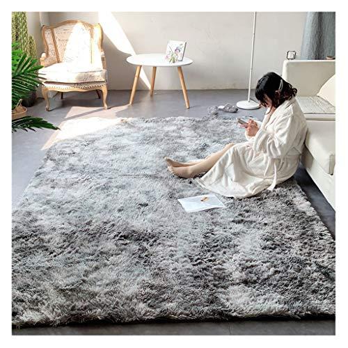 Alfombra De Diseño Alfombra de Pelo Largo, Lavable, Moderna, mullida, para salón o Dormitorio 2x3m (Color : Water Gray, Size : 2x3m)
