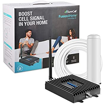 SureCall Fusion4Home Cell Phone Signal Booster for Home and Office   Verizon AT&T Sprint T-Mobile 3G 4G and LTE   Covers up to 2000 sq ft Fusion4Home Omni/Whip  SC-PolyH-72-ORA-Kit