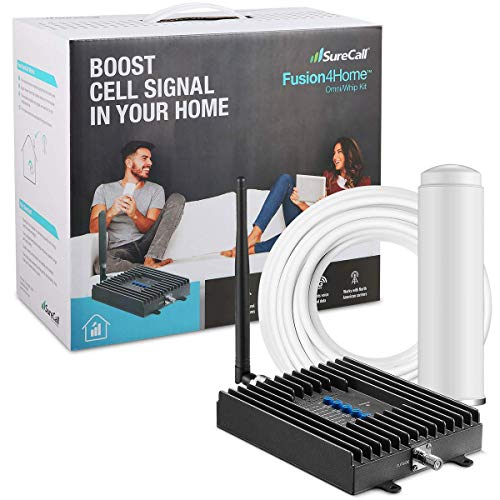 SureCall Fusion4Home Cell Phone Signal Booster for Home and Office | Verizon, AT&T, Sprint, T-Mobile 3G, 4G and LTE | Covers up to 2000 sq ft, Fusion4Home Omni/Whip (SC-PolyH-72-ORA-Kit)