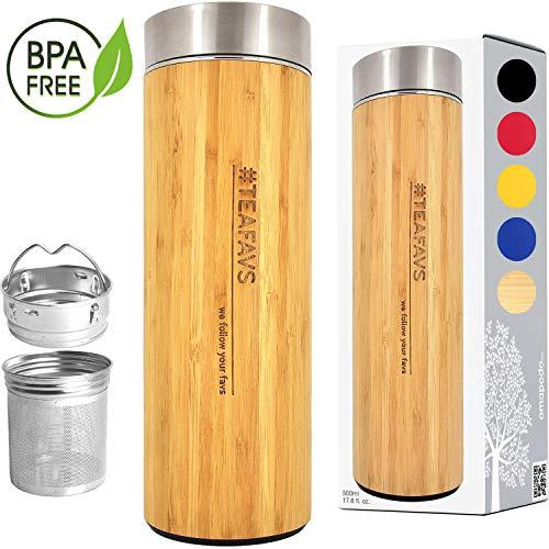 amapodo Trinkflasche Thermobecher für Tee mit Sieb - Edelstahl Bambus Thermosflasche 500ml Tea to go...