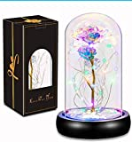 Beauty and The Beast Rose, Galaxy Rose, Glass Rose Flower Gift, Galaxy Enchanted Rose, Shineled Colorful Artificial Flower Rose Gift for Women, Mothers Day, Birthday, Valentine's Day, Anniversary