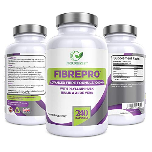 Fibre Pro 1000mg Daily Fibre Supplement, 240 Vegan Capsules, Prebiotic Fibre Supplement with Psyllium Husk, Inulin, Aloe Vera & Flaxseed, UK Made, 4 Month Supply by Natures Zest