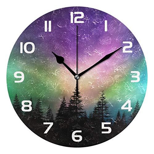 Reloj de Pared Decorativo de Bosque de Auroras boreales, Relojes Redondos de acrílico Que no Hacen tictac, decoración artística, Dormitorio, Sala de Estar, Cocina, baño, Oficina, Escuela