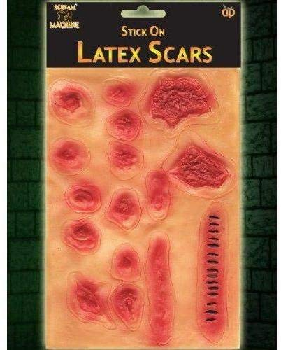 Set Of 16 Latex Stick On Sticky Scars And Wounds - Halloween Party Accessory
