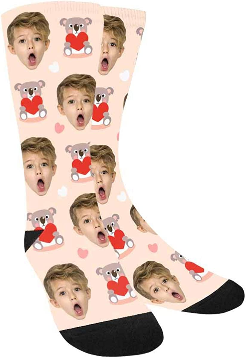 Custom Face Socks Turn Your Photo Heart and Red Cute Max 80% OFF Max 59% OFF Into Koala