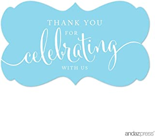 Andaz Press Fancy Frame Rectangular Label Stickers, Thank You for Celebrating With Us, Baby Blue, 36-Pack