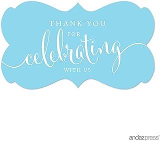 ملصقات ملصقات ملصقات ملصقات بعلامة مستطيلة الشكل عليها عبارة Thank You for Celebrating With Us من Andaz Press، لون أزرق فا...