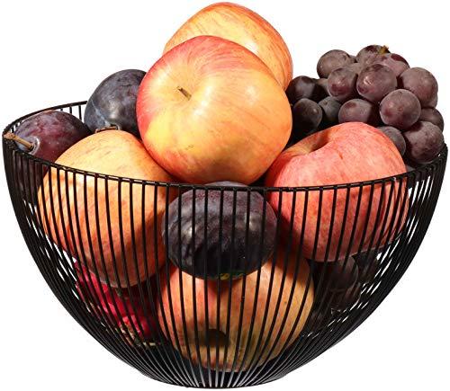 Cq Acrylic - Cesta de alambre de metal para frutas, grandes cestas de almacenamiento redondas para pan, fruta, verduras, soporte para aperitivos, moderno cuenco de frutas para decorar encimeras, color negro