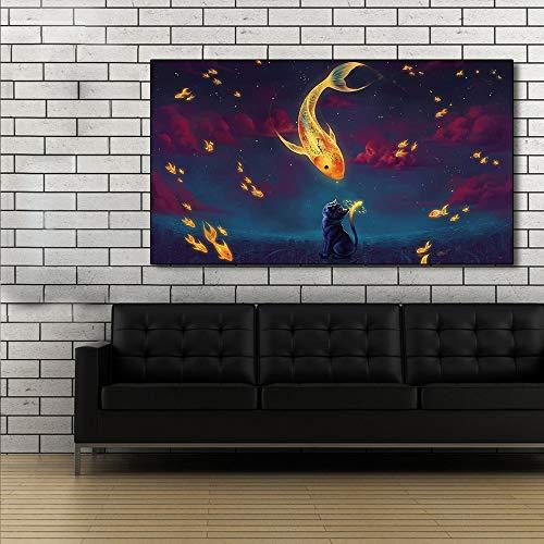 ganlanshu Pintura sin Marco Pinturas de Peces y Gatos celestiales sobre Lienzo para Decorar la Pintura al óleo de la habitación ZGQ3661 50X100cm