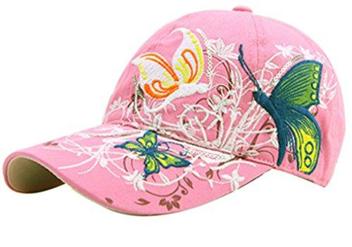 Thenice Damen Schmetterlings-Stickerei- Vintage Baseball Cap Snapback Trucker Hat (Rose Red)