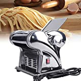Automatic Electric Pasta Noodle Maker Machine Stainless Steel Pasta Roller Cutter with 2 Blades 6-Speed Adjustable Thickness for Home Spaghetti Fettuccini Lasagna Dumpling Skins 110V