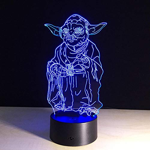 Star Wars Yoda Light, Lumières Led Illusion 7 Couleurs, Jouets De Fantaisie De Mode, Enfants De Poupée, Cadeaux D'Anniversaire