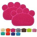 Cloud Heart Premium Cibo per Animali Domestici, Tappetino in PVC a Forma di Zampa Bowl Feeding Coperta tovaglietta per Gatti e Cani, 40 x 30 cm,2 Pezzi, Rosa Rossa