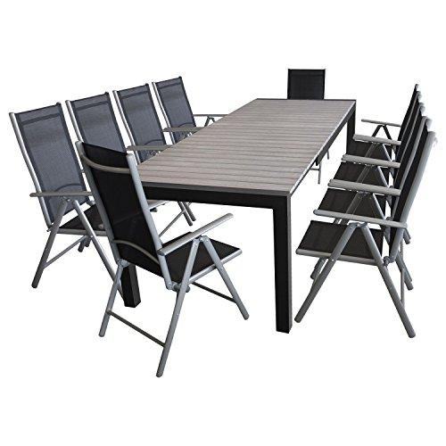 Multistore 2002 Multistore 2002 - Juego de muebles de jardín (11 piezas, mesa extensible Polywood de 205/275 x 100 cm, 10 sillas de respaldo alto, plegables, 7 posiciones ajustables)