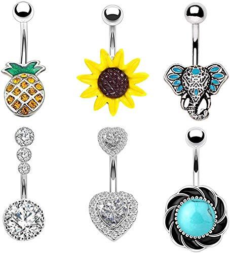 EVELICAL 6Pcs 14G Stainless Steel Belly Button Rings for Women Girls CZ Pineapple Sunflower Heart Elephant Screw Navel Bars Body Piercing Jewelry