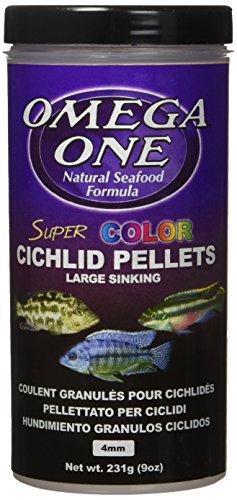 Omega One Super Color Sinking Cichlid Pellets, 4mm Large Pellets, 9 oz