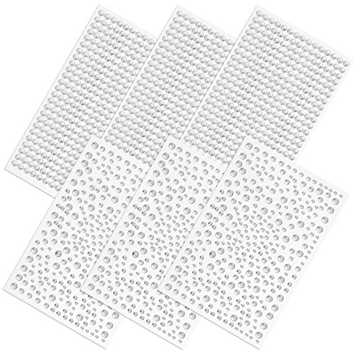 2100 Pieces Clear Rhinestones Stickers, SourceTon Self Adhesive Crystal Stickers Diamond Stickers, Stick on Rhinestone Strips for DIY Craft and Art Project (Clear)