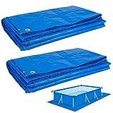 2 paños de suelo de piscina de 6.56 x 9.84 pies, resistente al agua, lona de poliéster, impermeable, impermeable, para cobertizo, con ojales para cubrir suministros de alberca y camping.