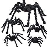 Halloween Spider Decorations 5 Pcs Realistic Hairy Spiders Set, Halloween Scary Spider Props for Outdoor Indoor Yard Patio Wall Window, Halloween Scary Spider Decorations, Black (5 Different Sizes)