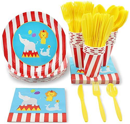 Set di stoviglie usa e getta, per 24 persone, per feste a tema animali del circo, include coltelli, cucchiai, forchette, piatti di carta, tovaglioli, tazze