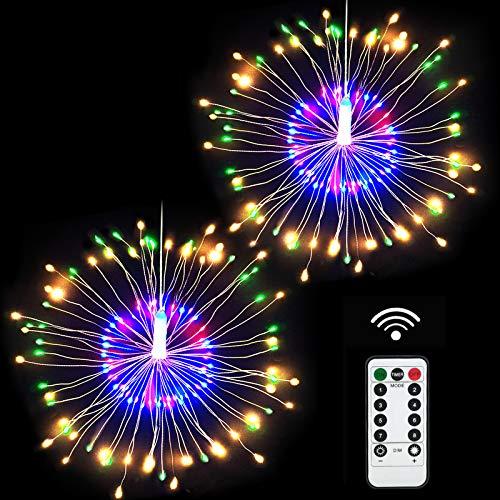 Lukasa Guirlandes Lumineuses Feux d'artifice, 120 LED Starburst Guirlandes à Piles Décorative Etanche Feu d'Artifice Avec Télécommande 8 Modes pour Décoration Noël Jardin